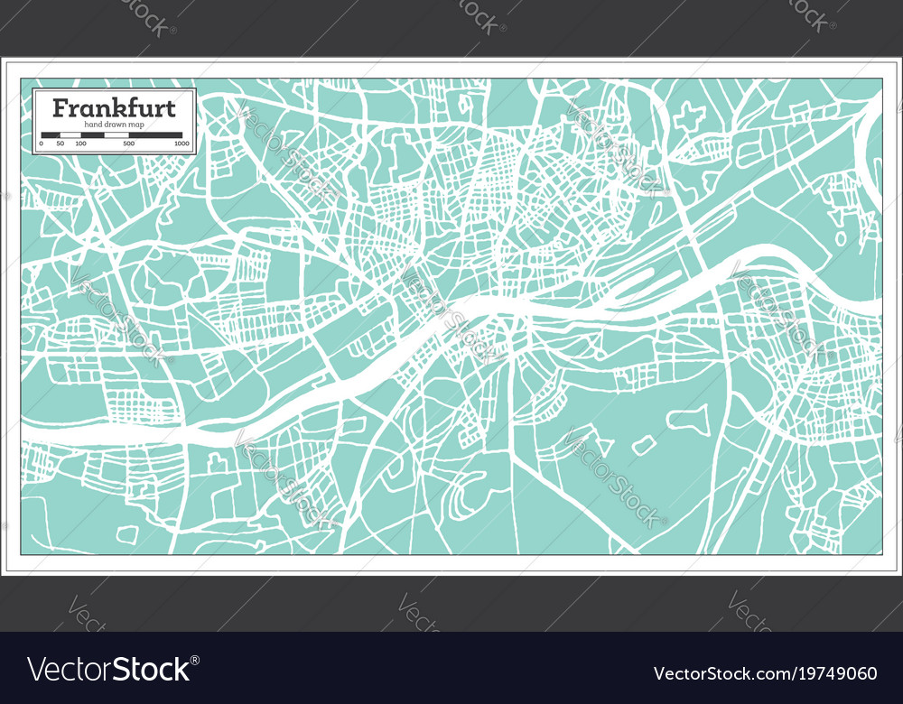 Frankfurt Germany City Map In Retro Style Vector Image