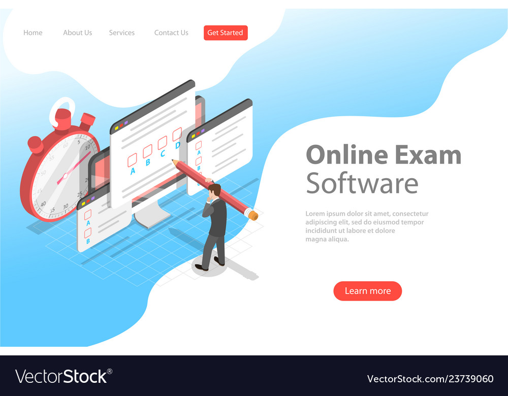 Isometric flat landing page header for