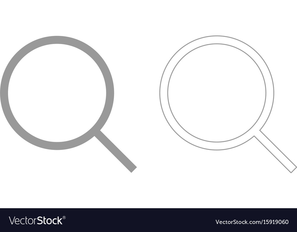 Magnifying glass or loupe grey set icon vector image