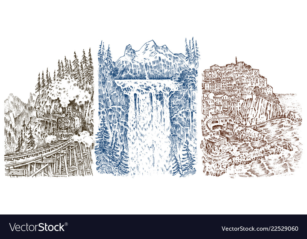 Mountain peaks with forest and waterfall graphic