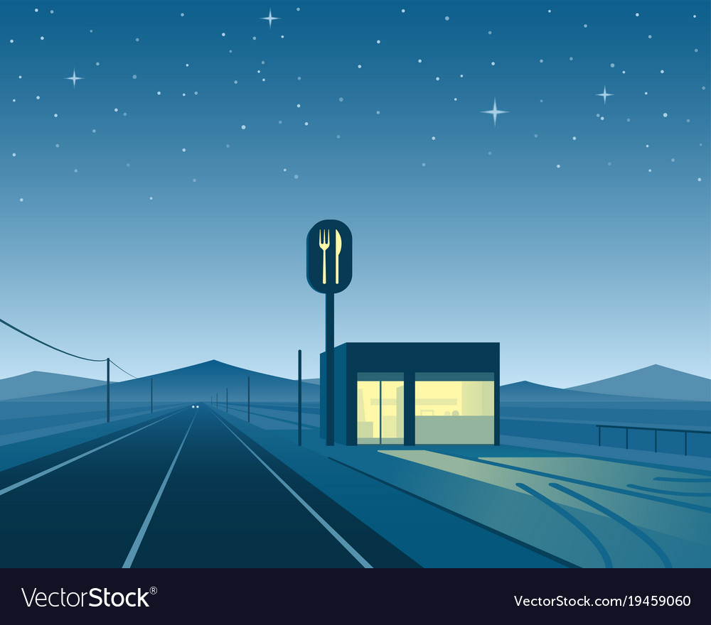 Road diner at night scene vector image
