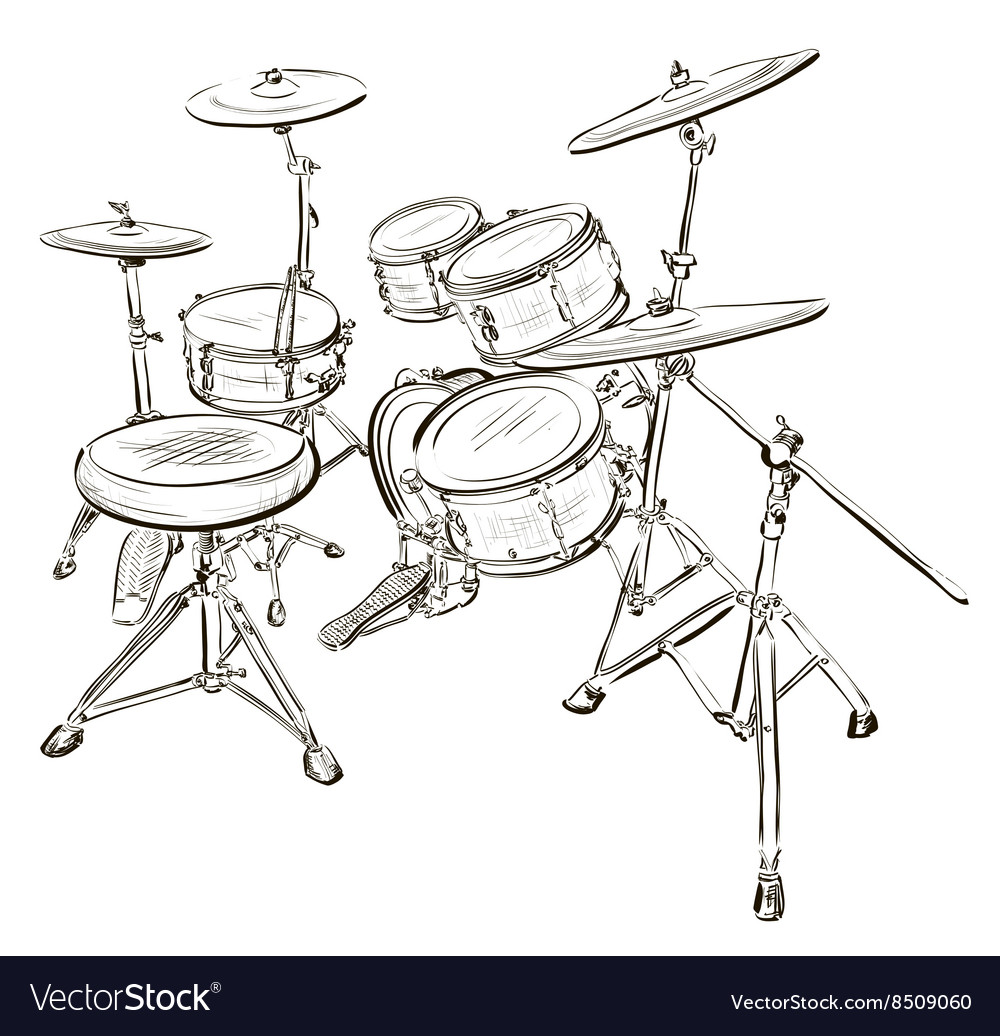Sketch Of A Drum Kit Royalty Free Vector Image
