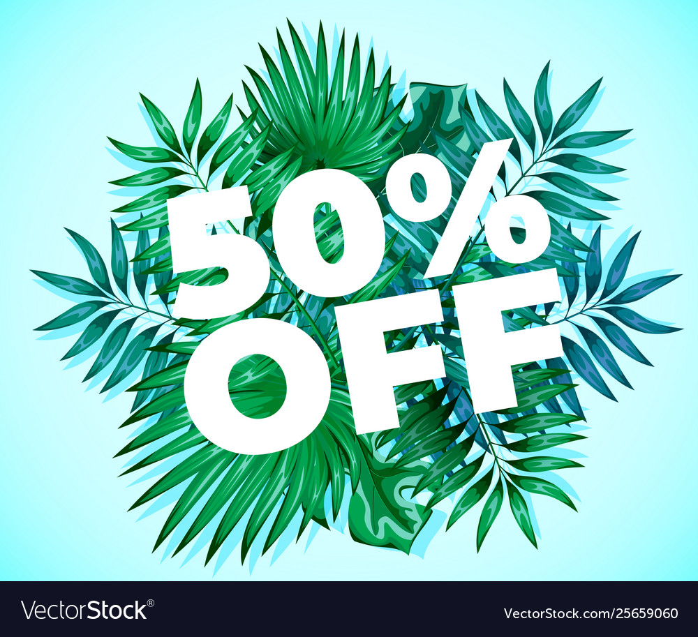 Summer sale background with fresh palm green
