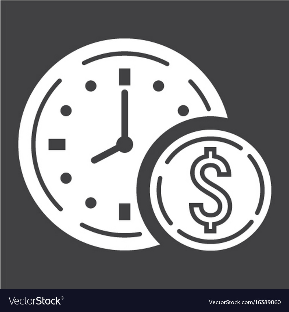 Time is money glyph icon business and finance