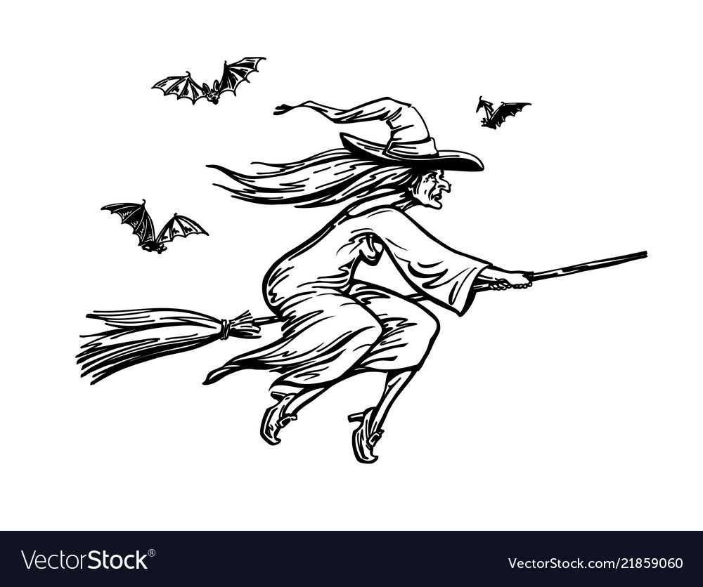 Witch flying on broomstick halloween sketch