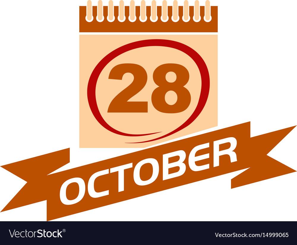 28 october calendar with ribbon 28 october calenda