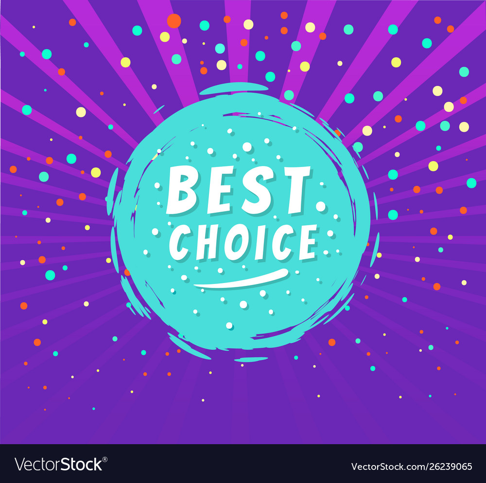 Best choice round emblem isolated on purple dots