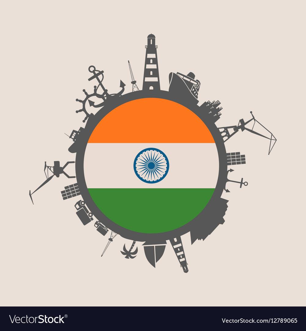 Cargo port relative silhouettes India flag