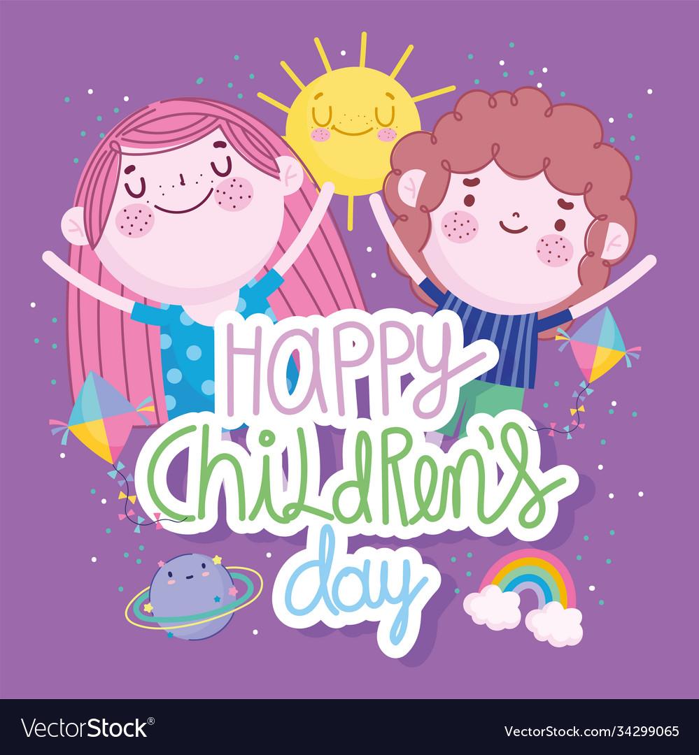 Children day cartoon boy and girl happy