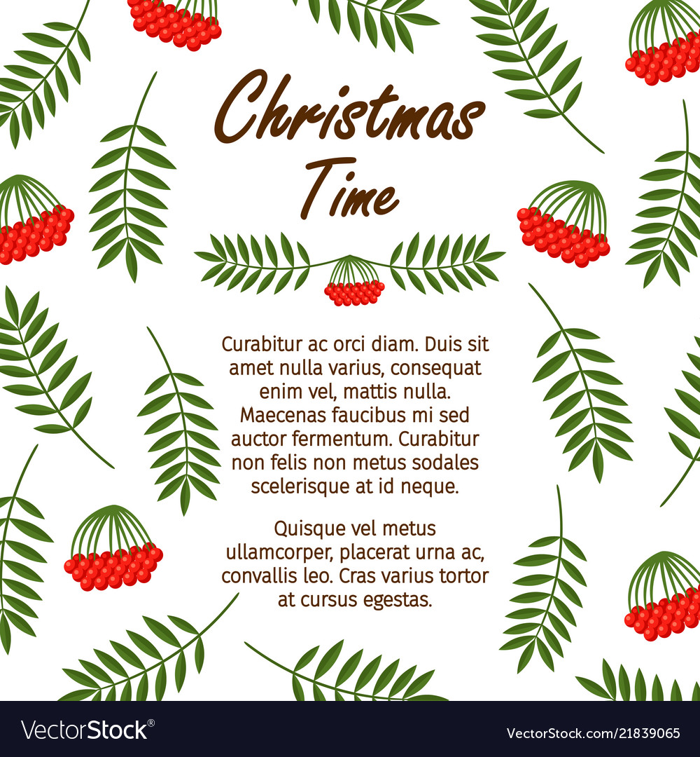 Christmas time banner template with red berries