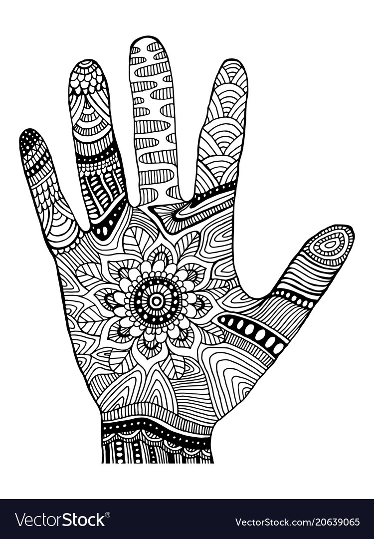 Coloring page decorative palm in ornaments vector image