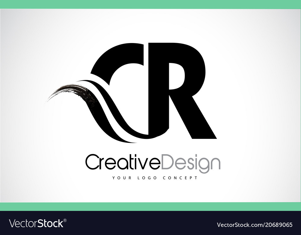 cr c r creative brush black letters design with vector image
