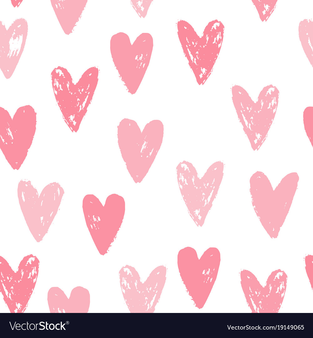 Cute pink hearts seamless pattern vector