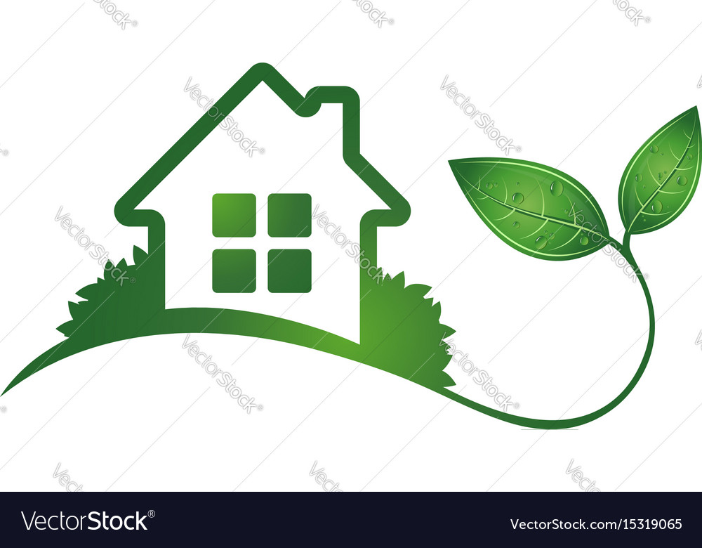 Eco house and green leaves