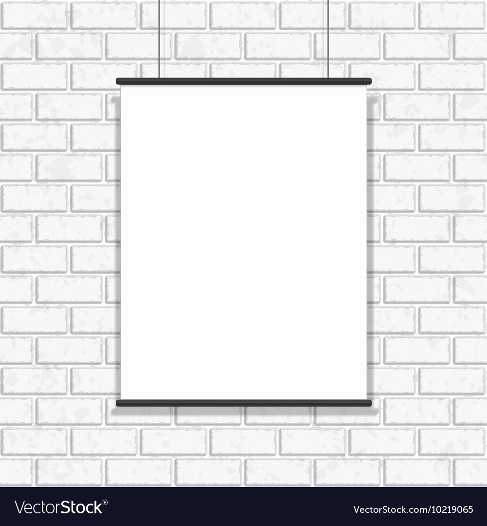 Poster hanging on seamless brick wall
