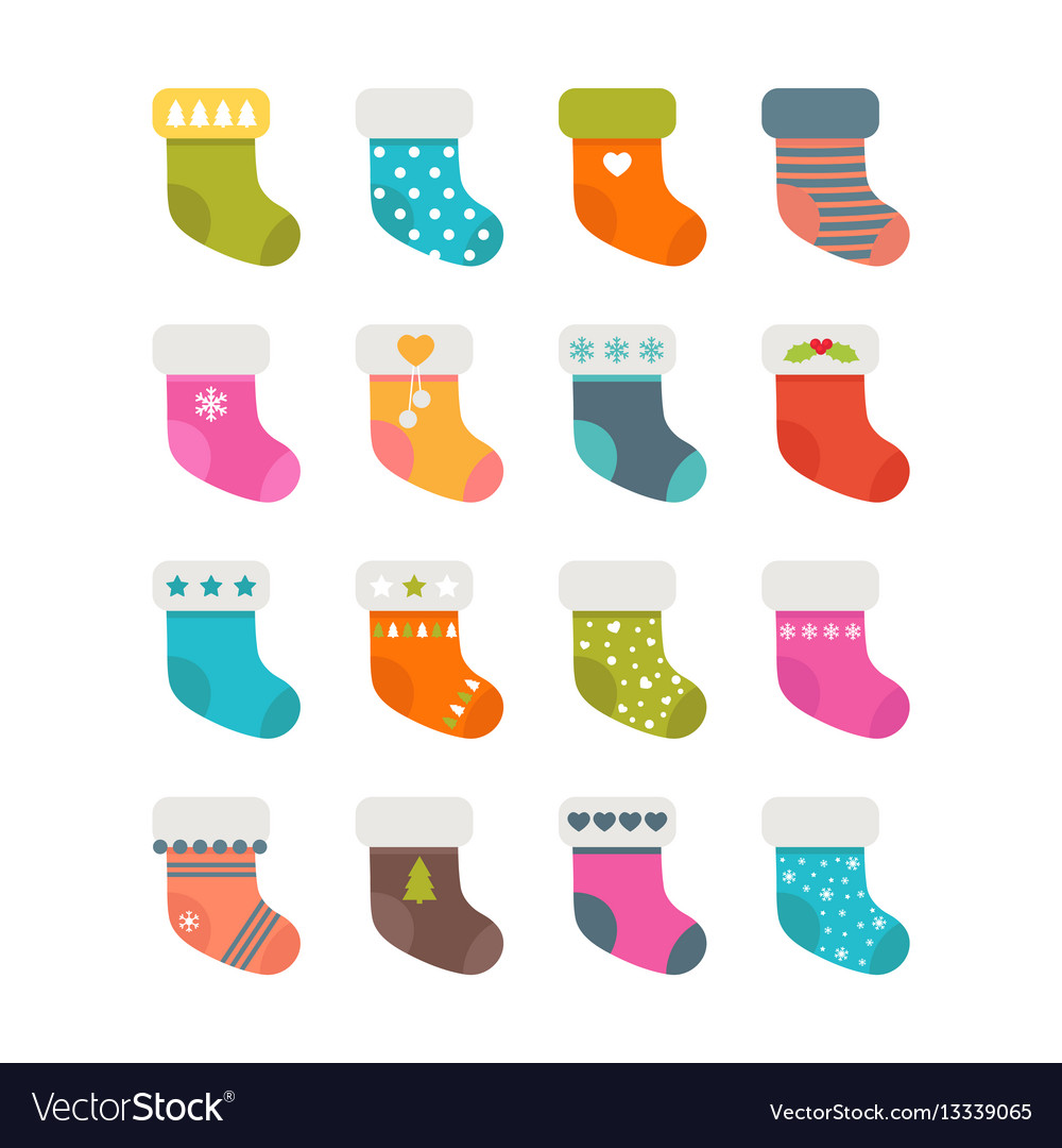 Set of colorful socks with different patterns