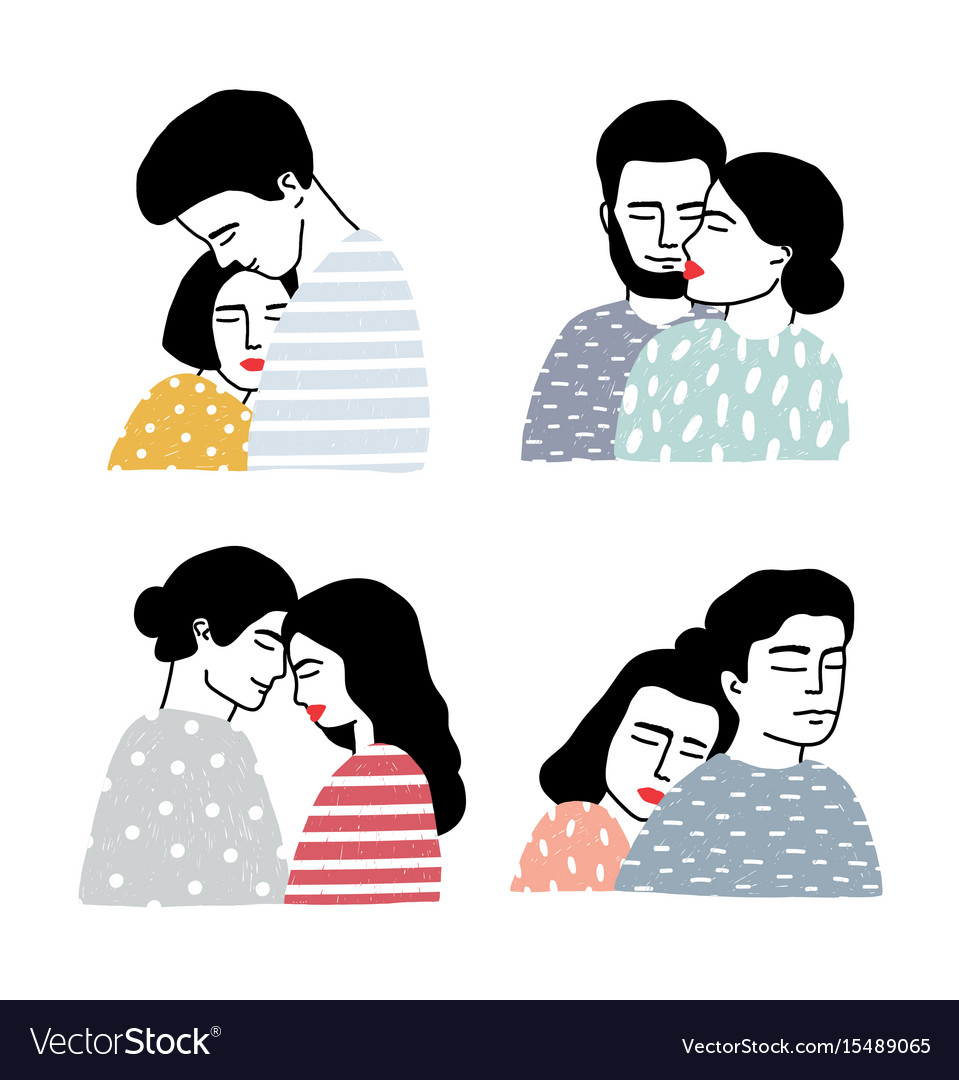 Set of couples in love portraits of loving guy