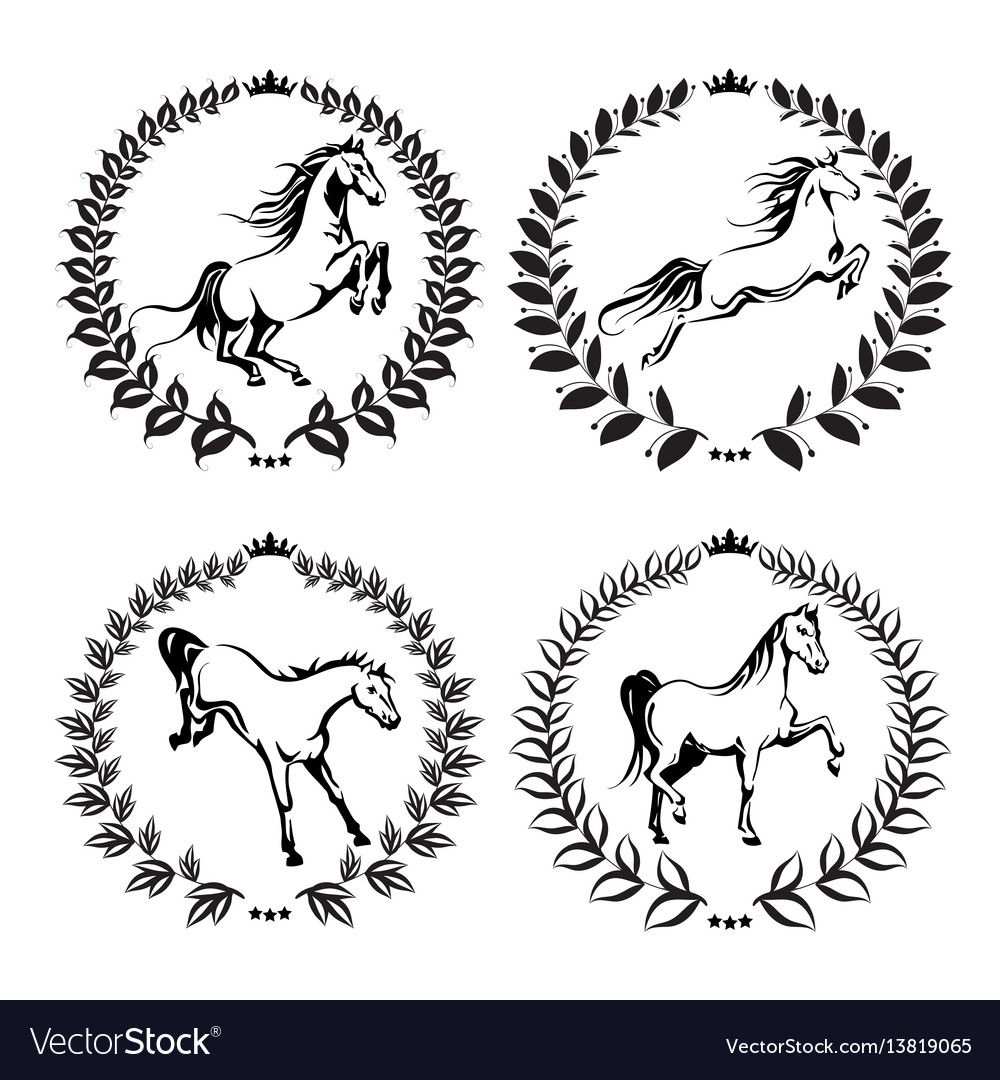 Set with labels of horses