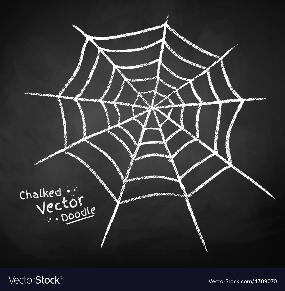 Chalkboard drawing of spider web