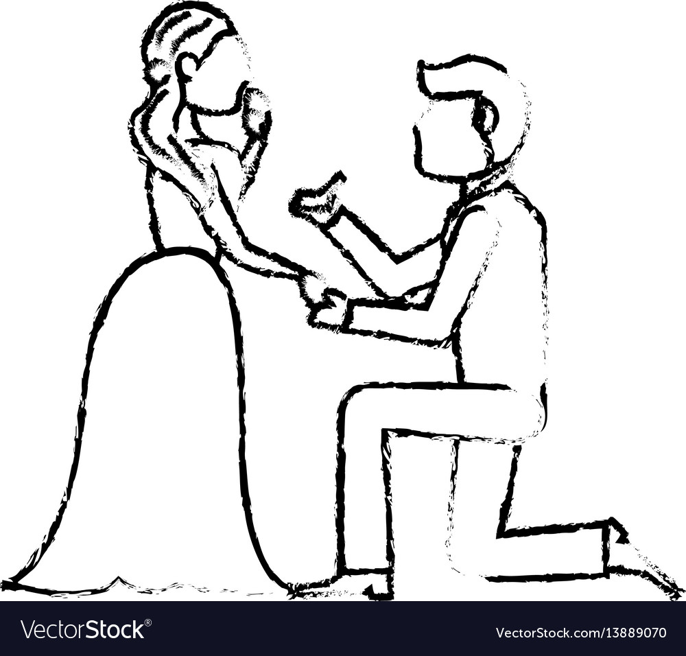 Couple wedding love image sketch vector image