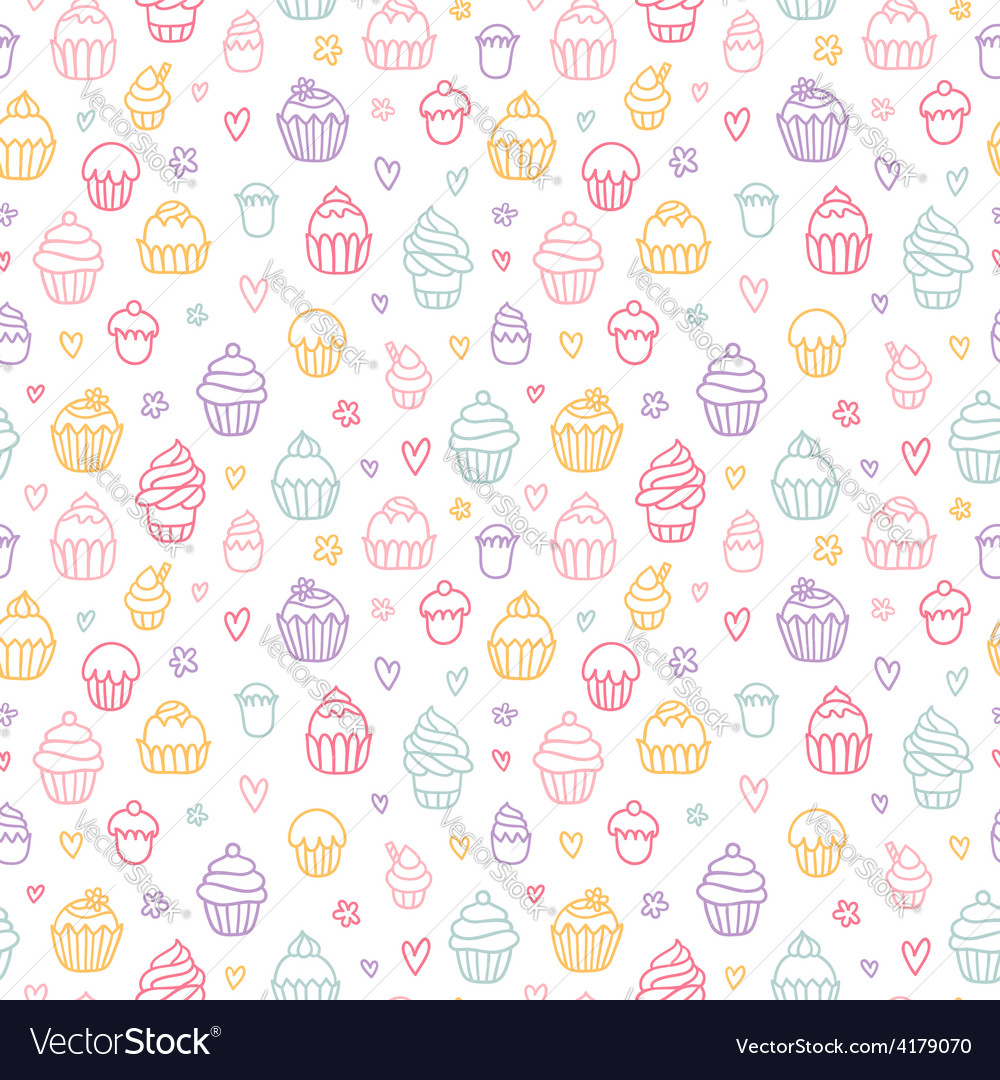 Cupcakes outlined colorful seamless pattern on