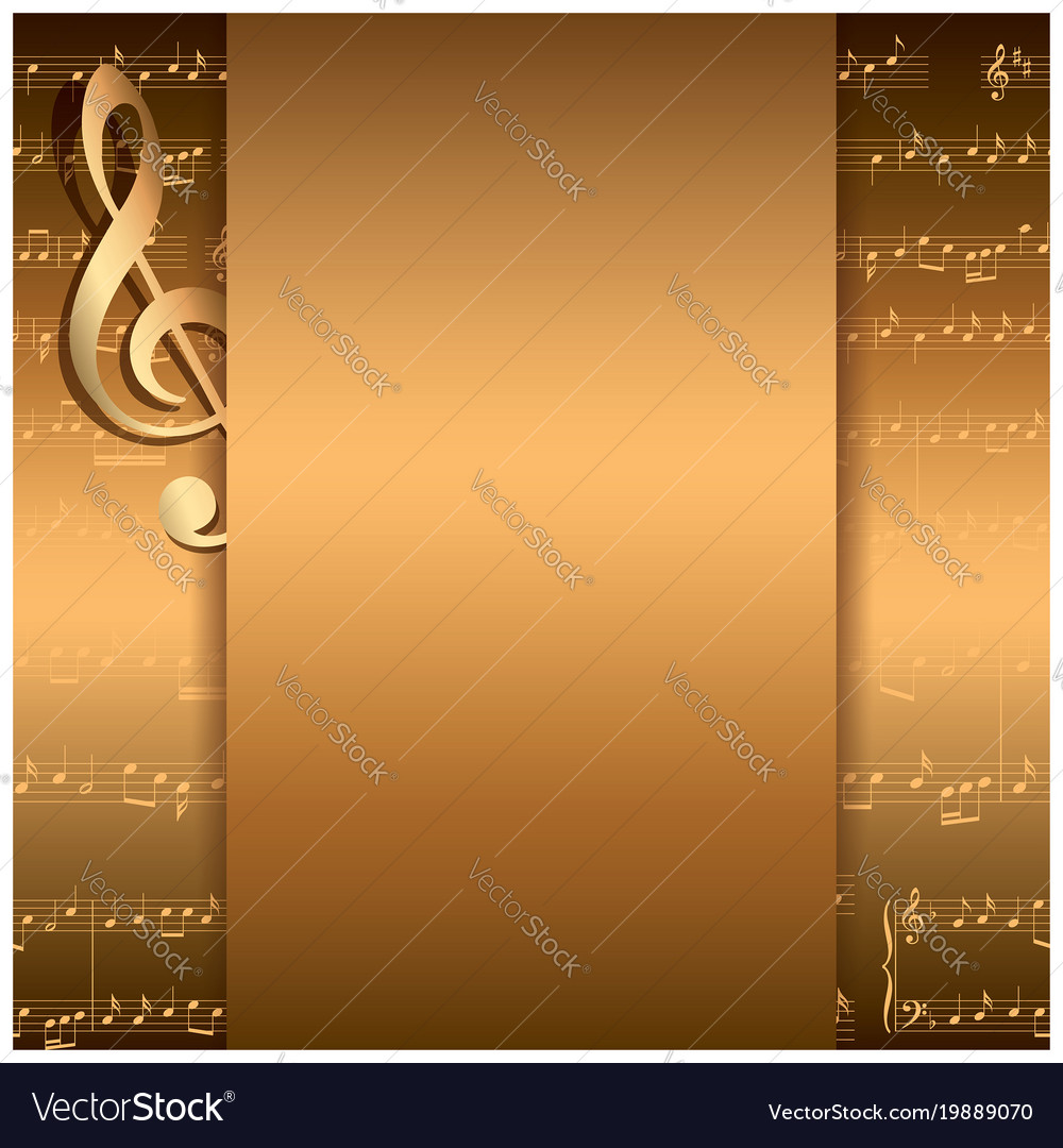Dark gold background with music notes - musical