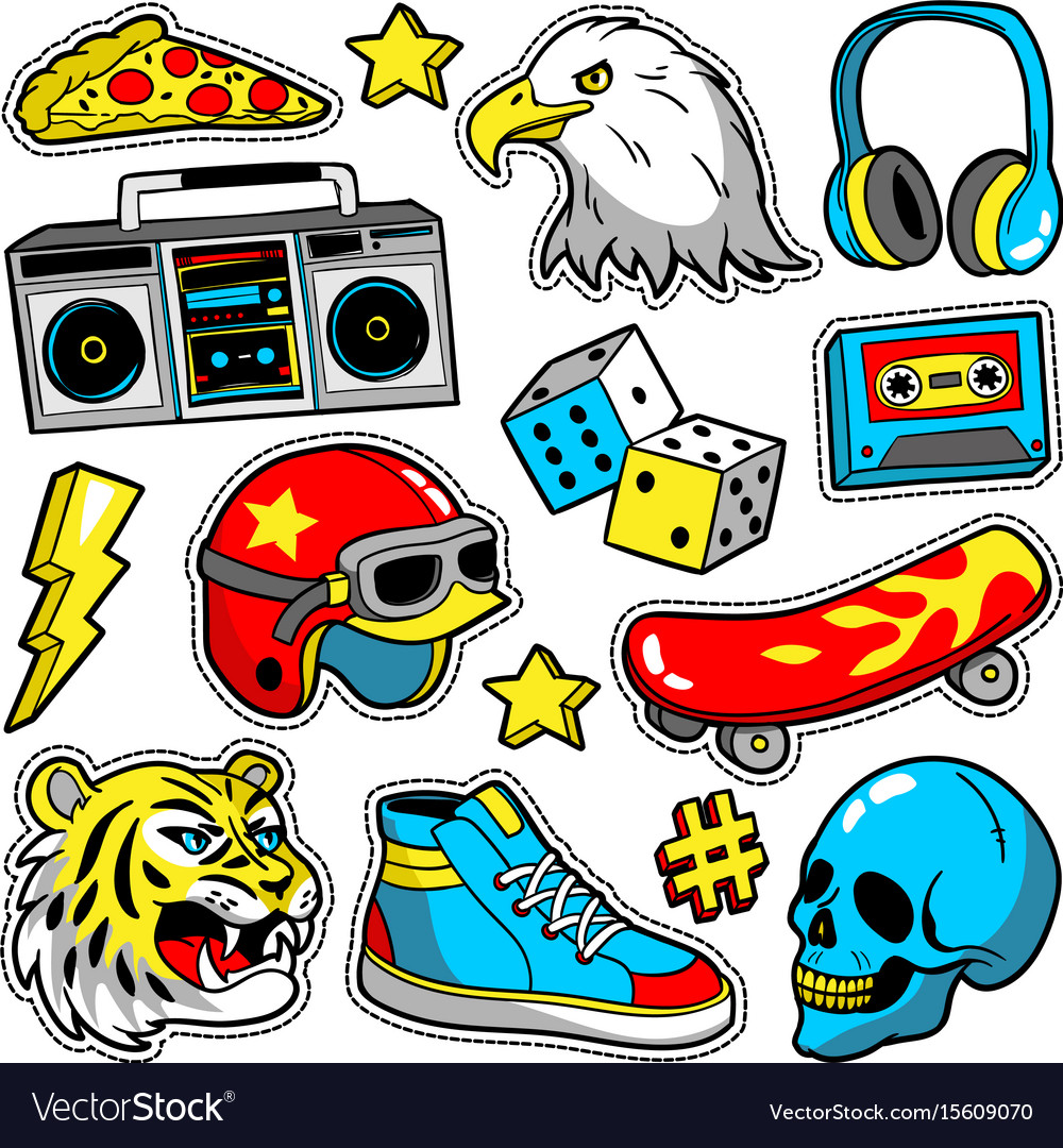 Fashion patches in cartoon 80s-90s comic style