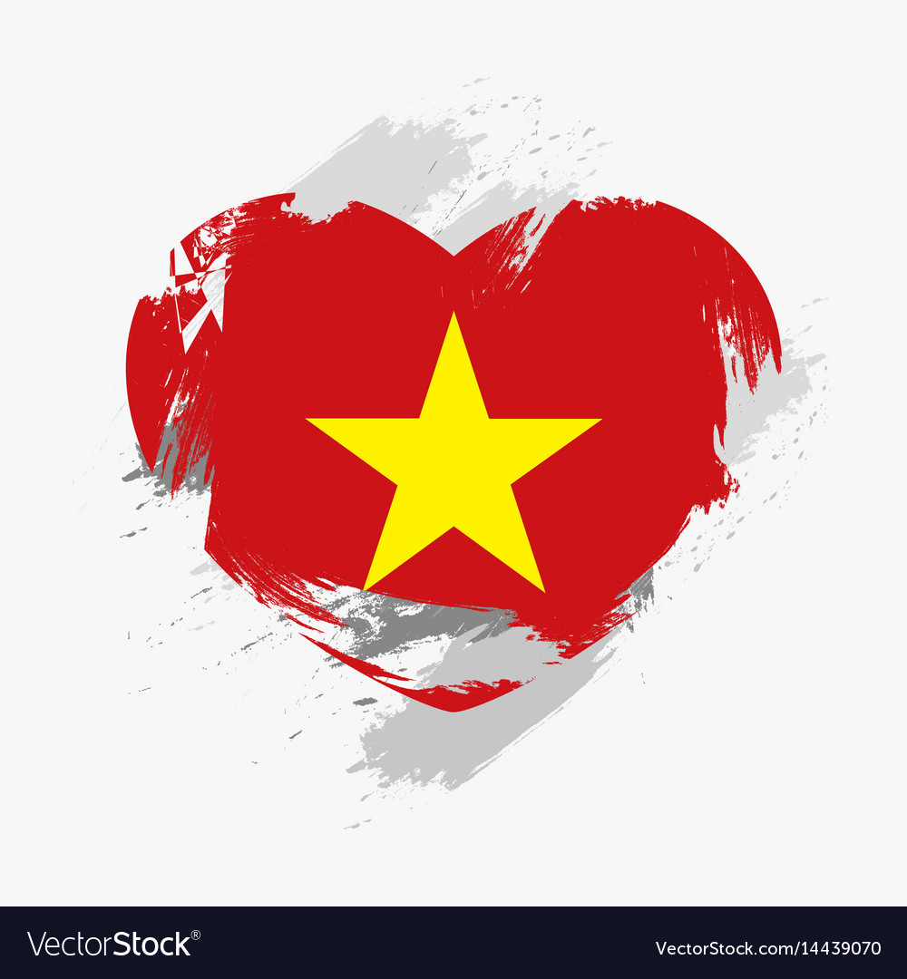 Flag of vietnam isolated on grunge heart vector image