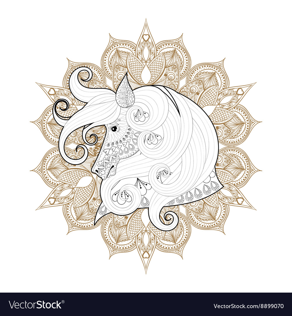 Hand drawn entangle ornamental horse on mehendi