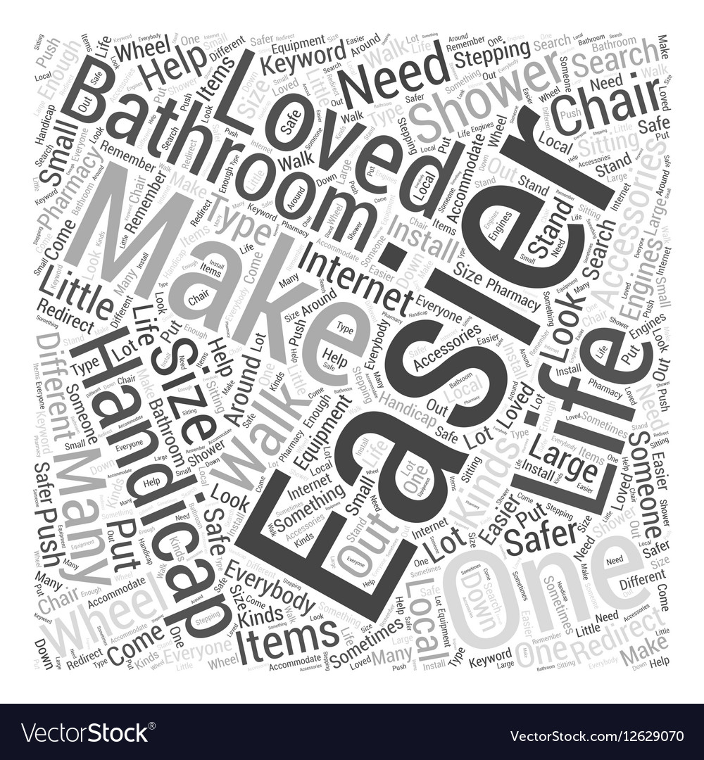 Handicapped accessories for the bathroom Word Vector Image