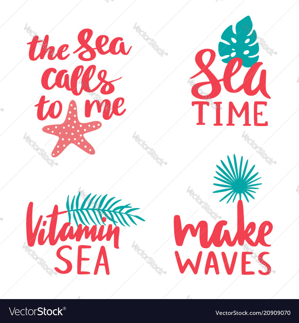 Marine lettering collection sea time vitamin