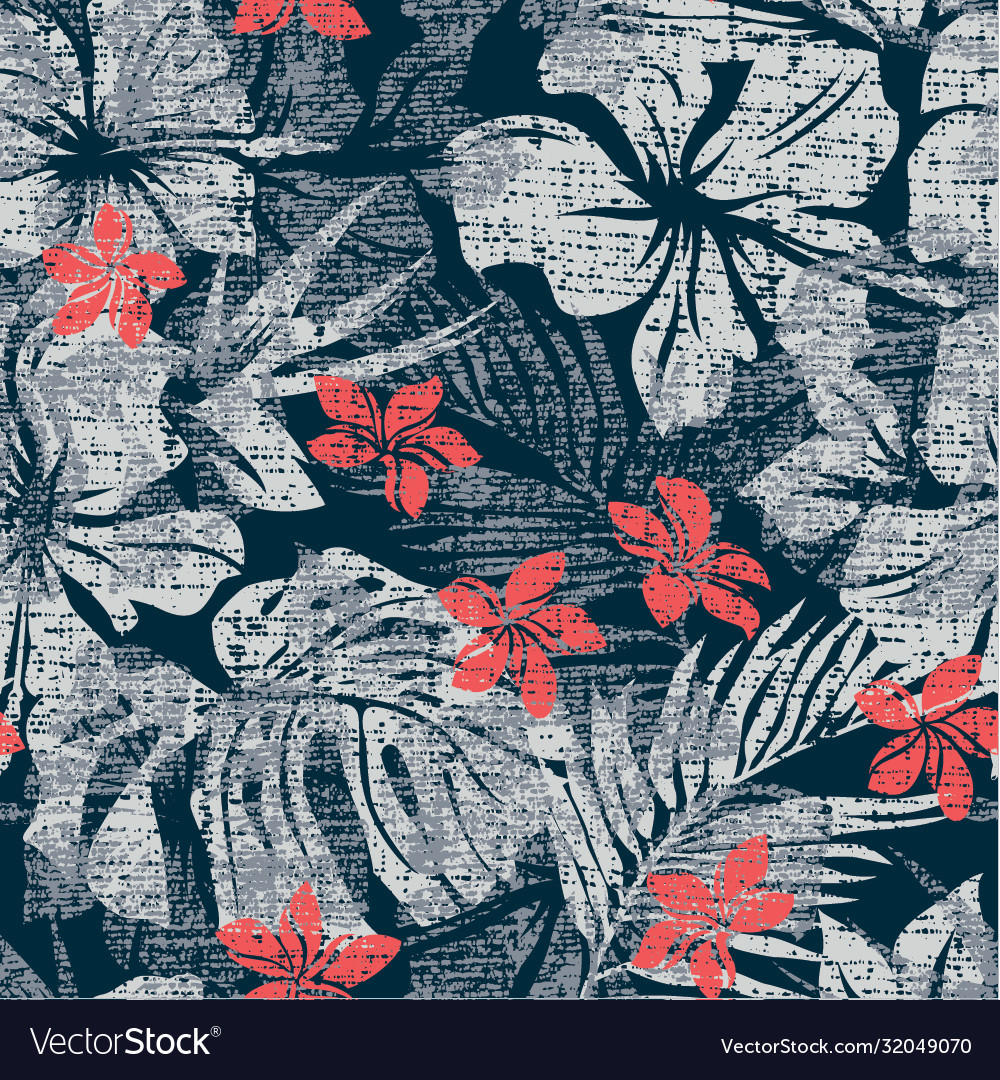 Melange hibiscus flowers with leaves wallpaper