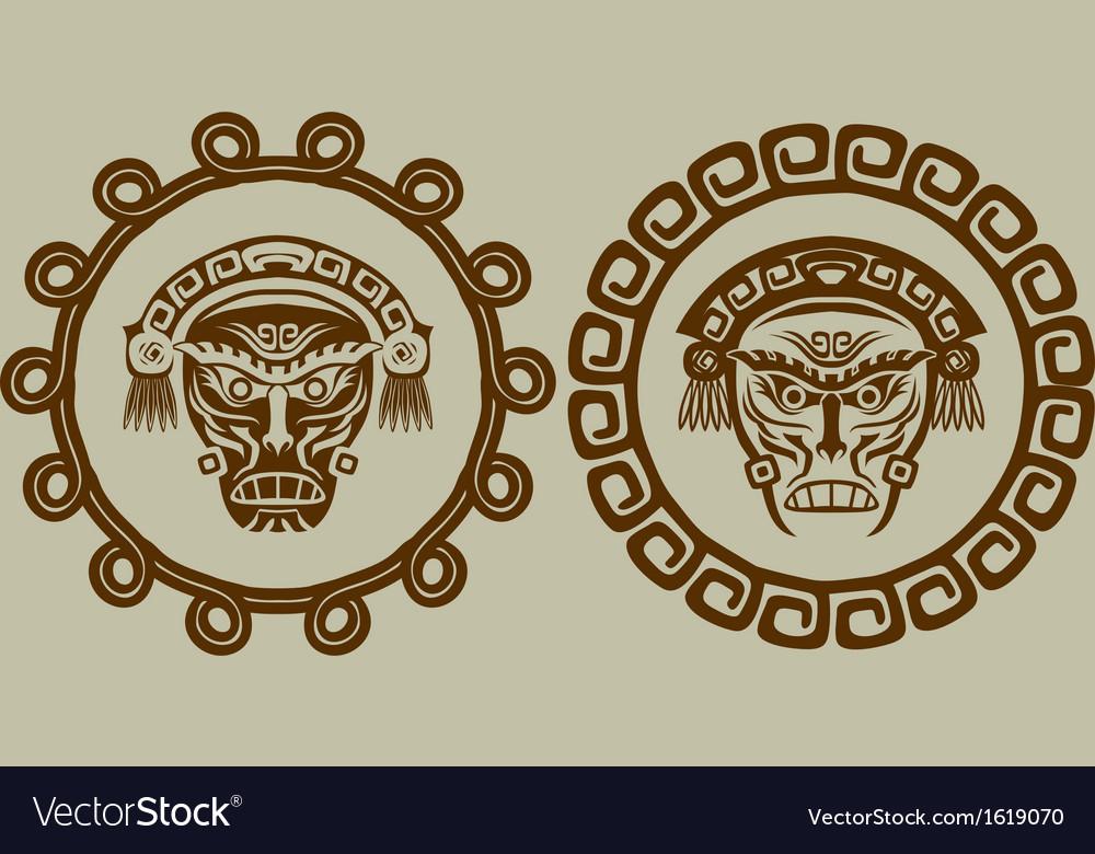 Native American masks in circular pattern