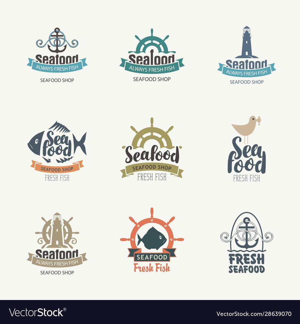 Set logos on theme seafood in retro
