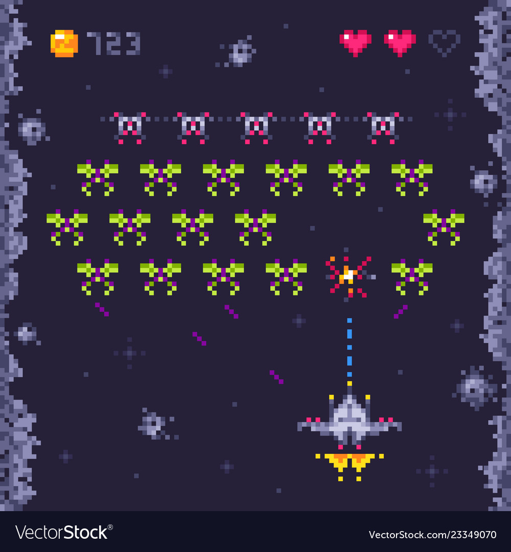 Space Arcade Game Level Retro Invaders Pixel Art
