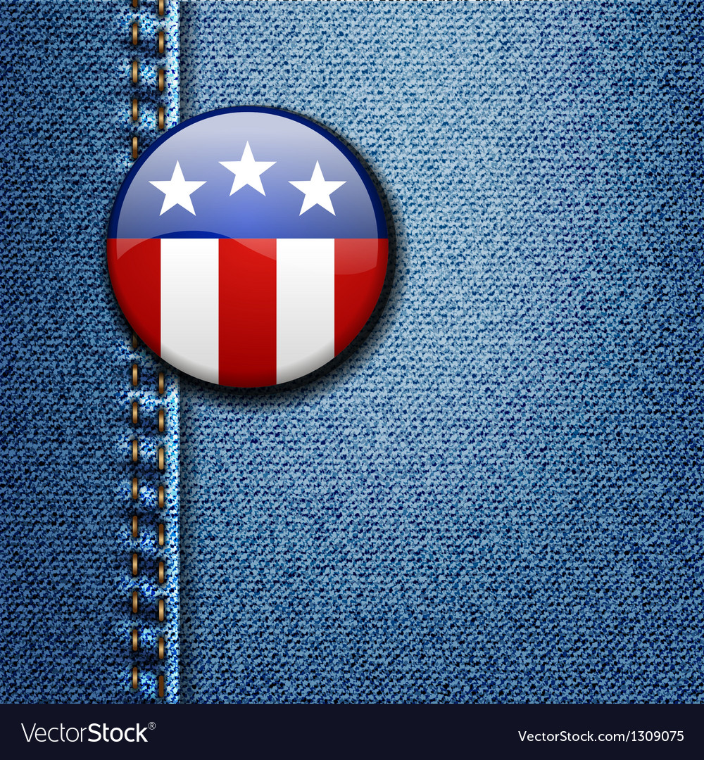 American Flag Emblem Badge On Jeans Denim