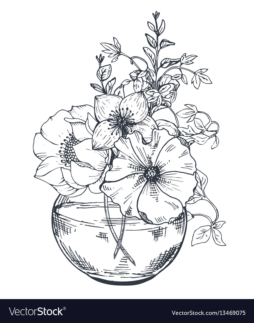 Bouquets with hand drawn flowers and plants in the