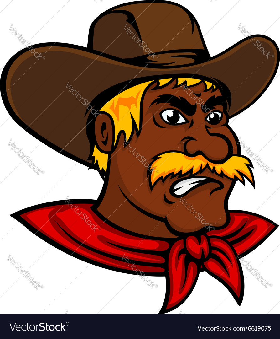 Cartoon moustached cowboy with leather hat