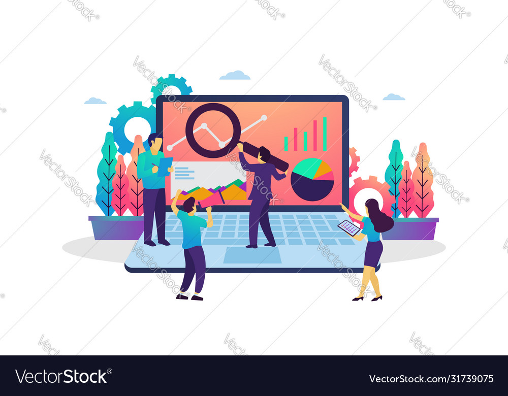 Data analysis modern flat design concept