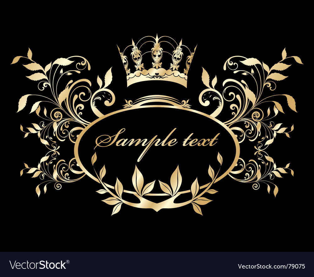 Gold nature frame vector image