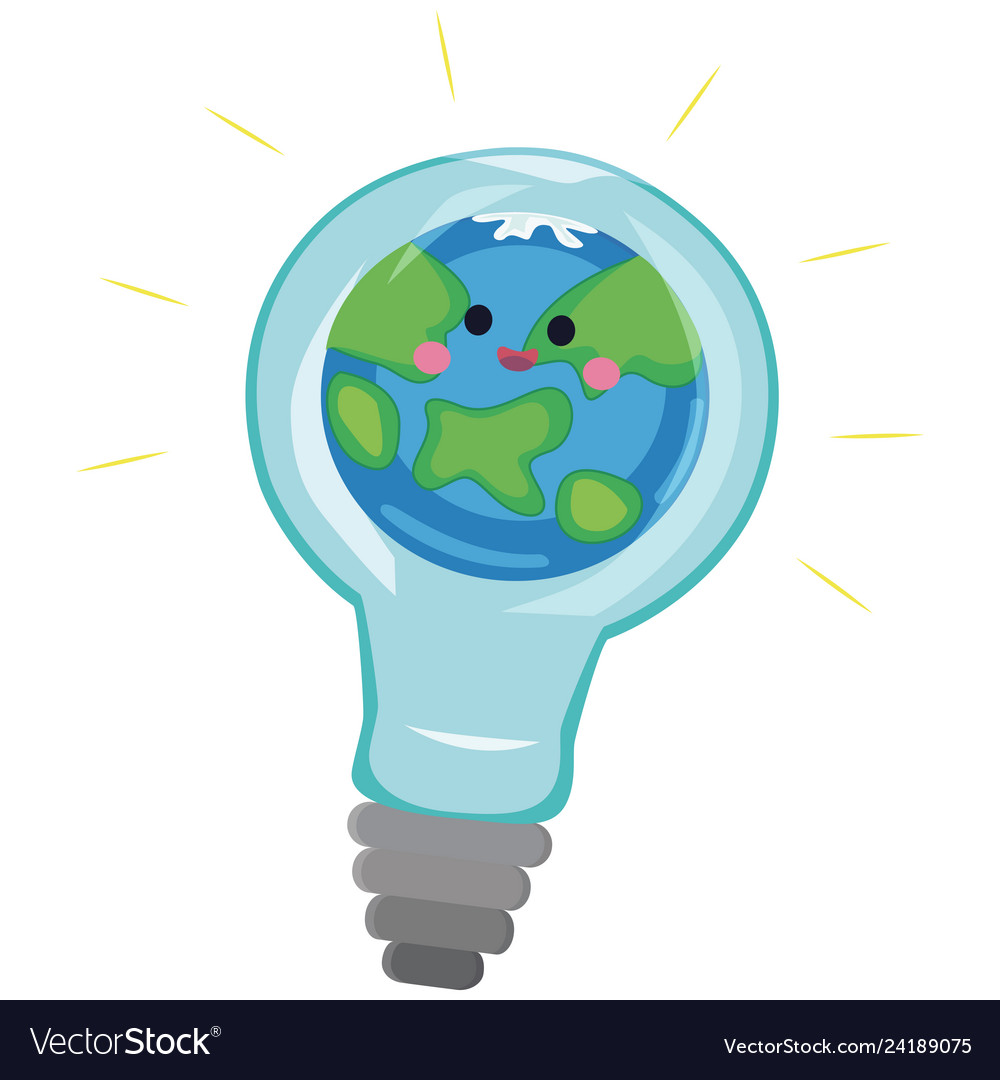 Light bulb with world inside and global warming