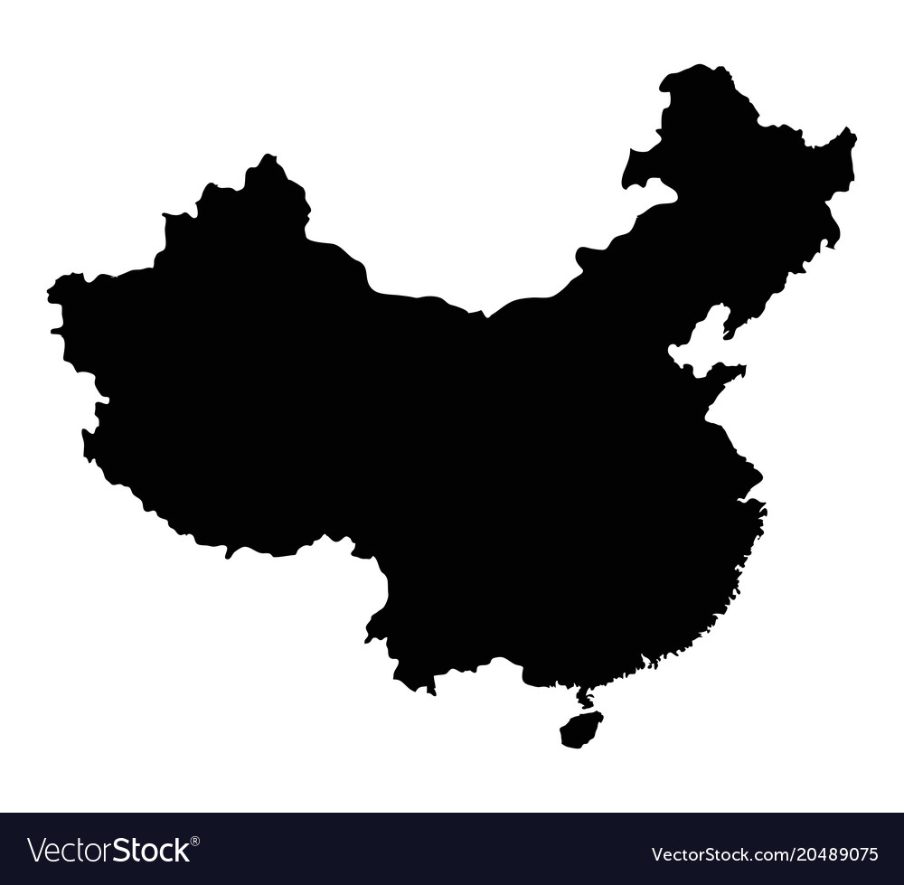 Map of china outline Royalty Free Vector Image