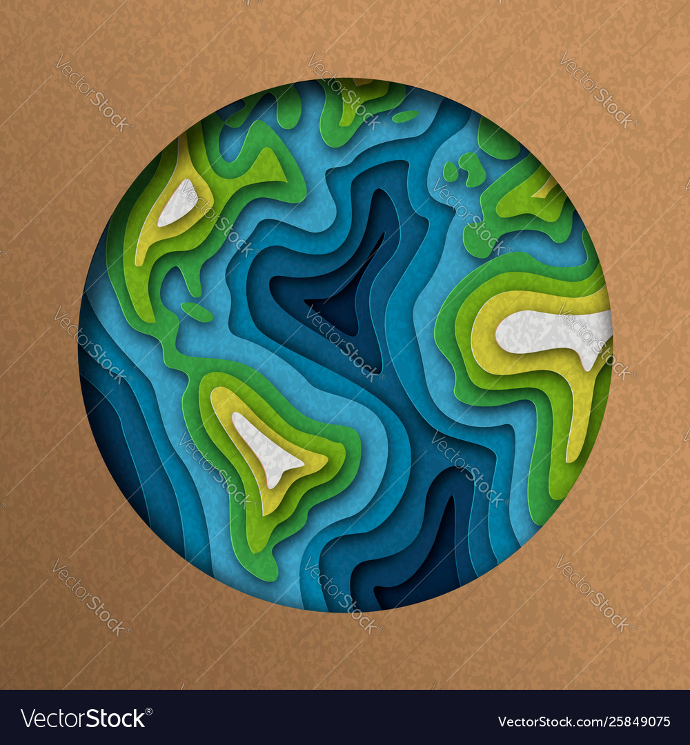 Paper cut earth planet in layered cutout style