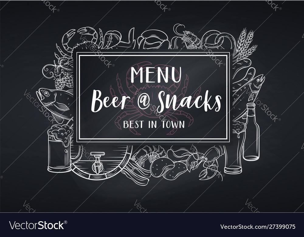 Pub food and beer blackboard style