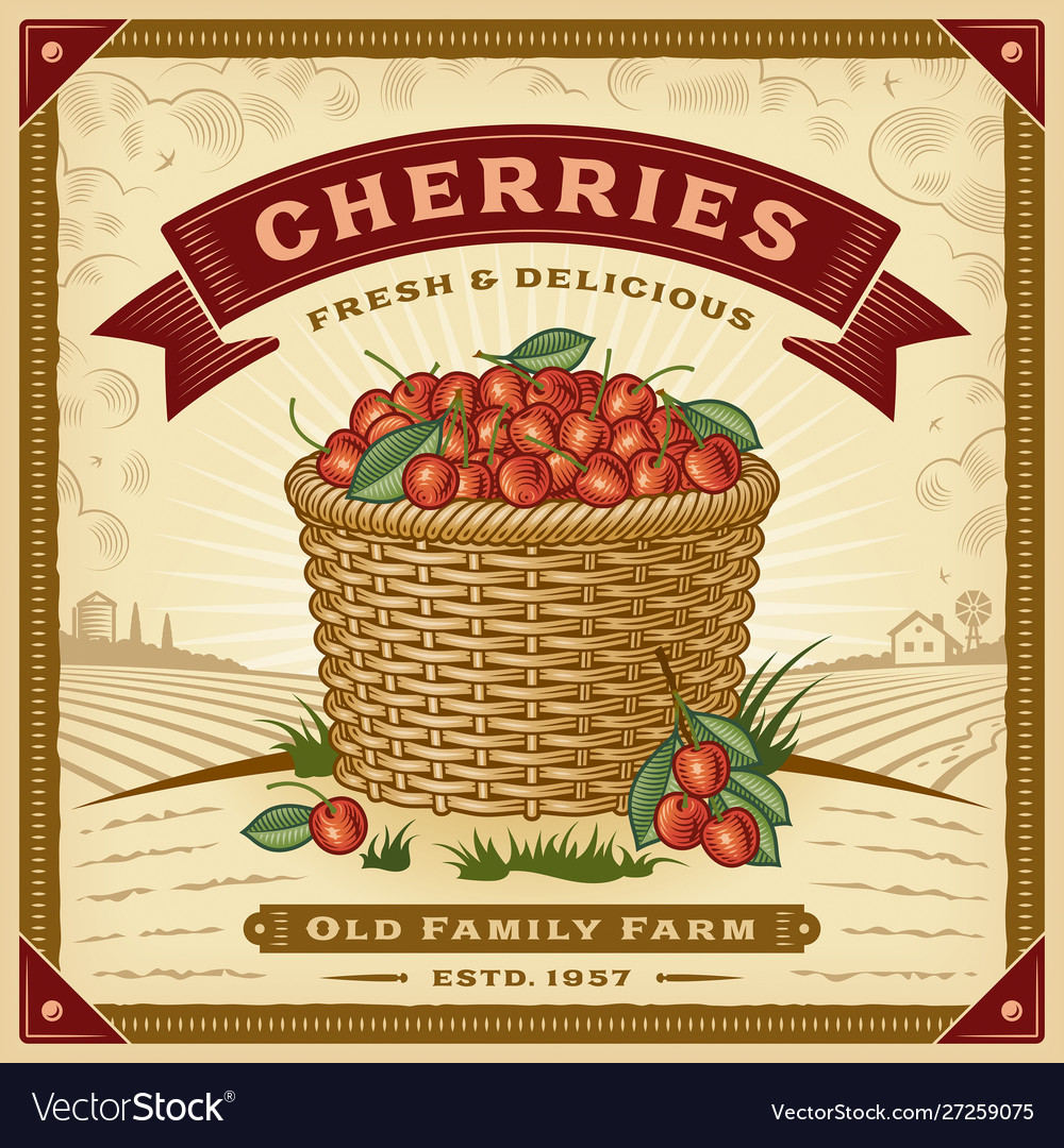 Retro cherry harvest label with landscape