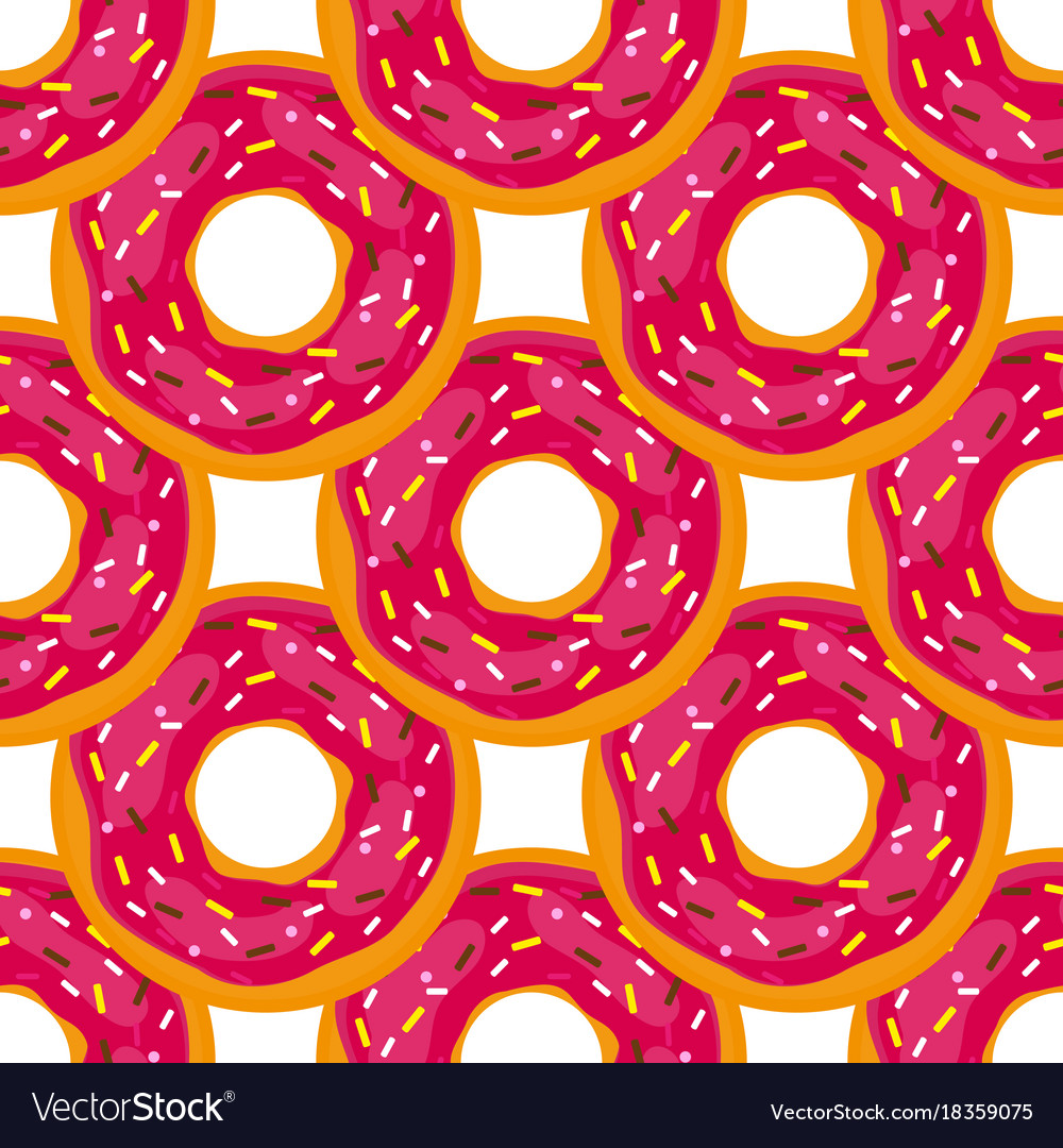 Seamless background of donuts with pastry pads