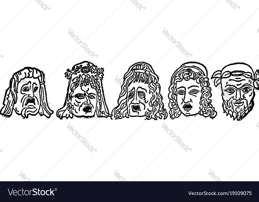 Tragedy masks are origin of greek drama is to be vector image