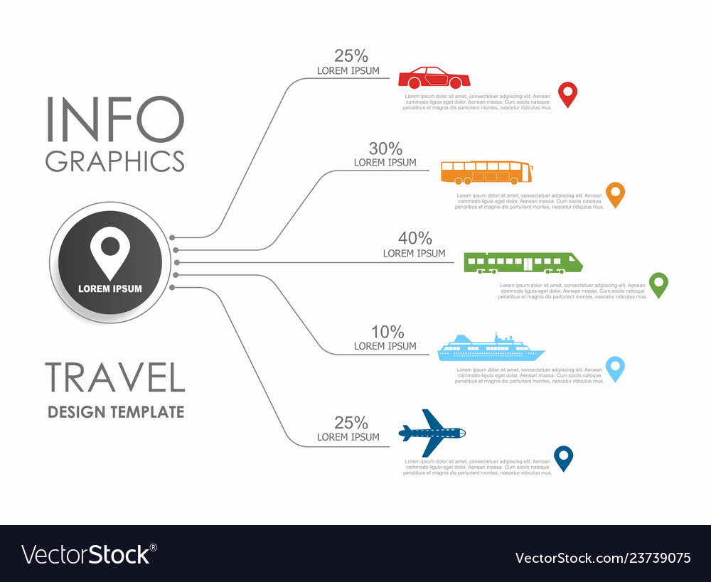 Travel infographic design template with place for