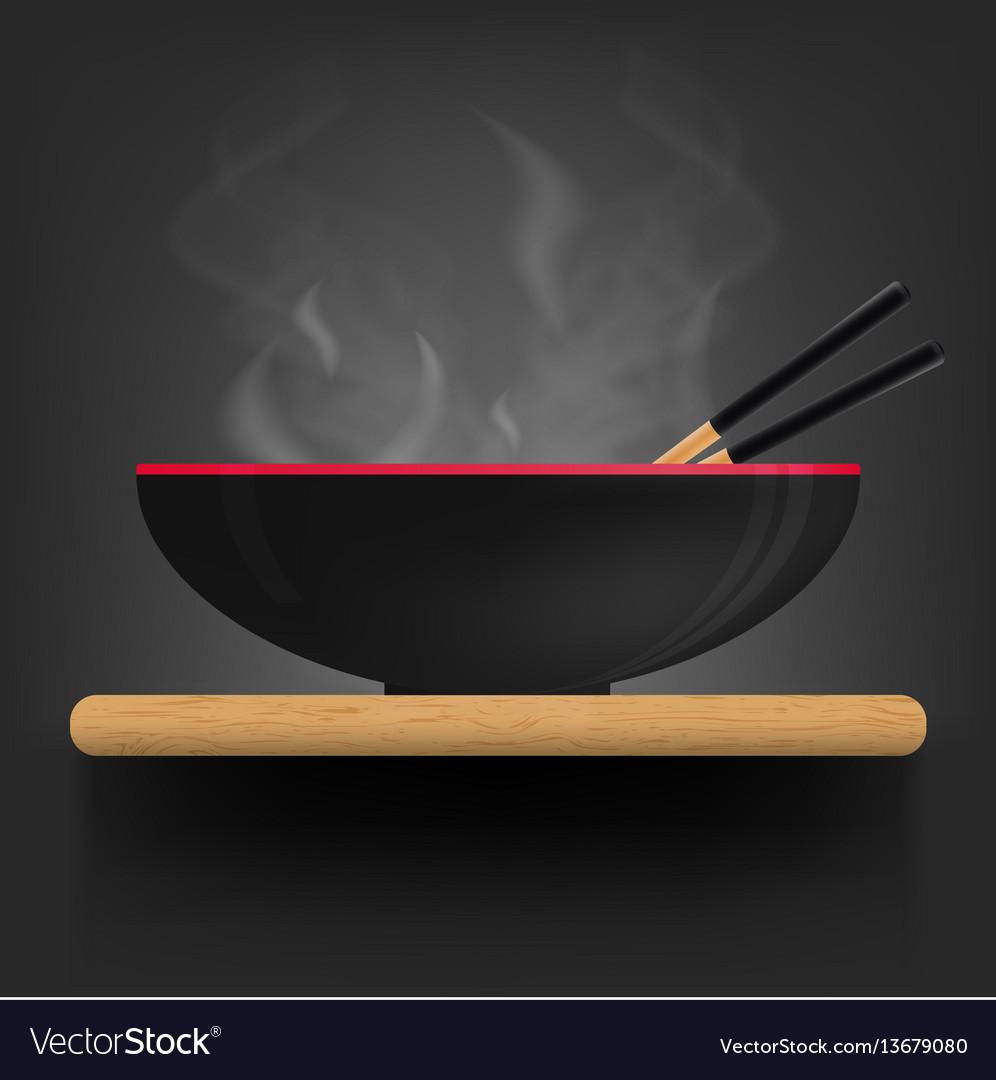 Asian soup plate on desk