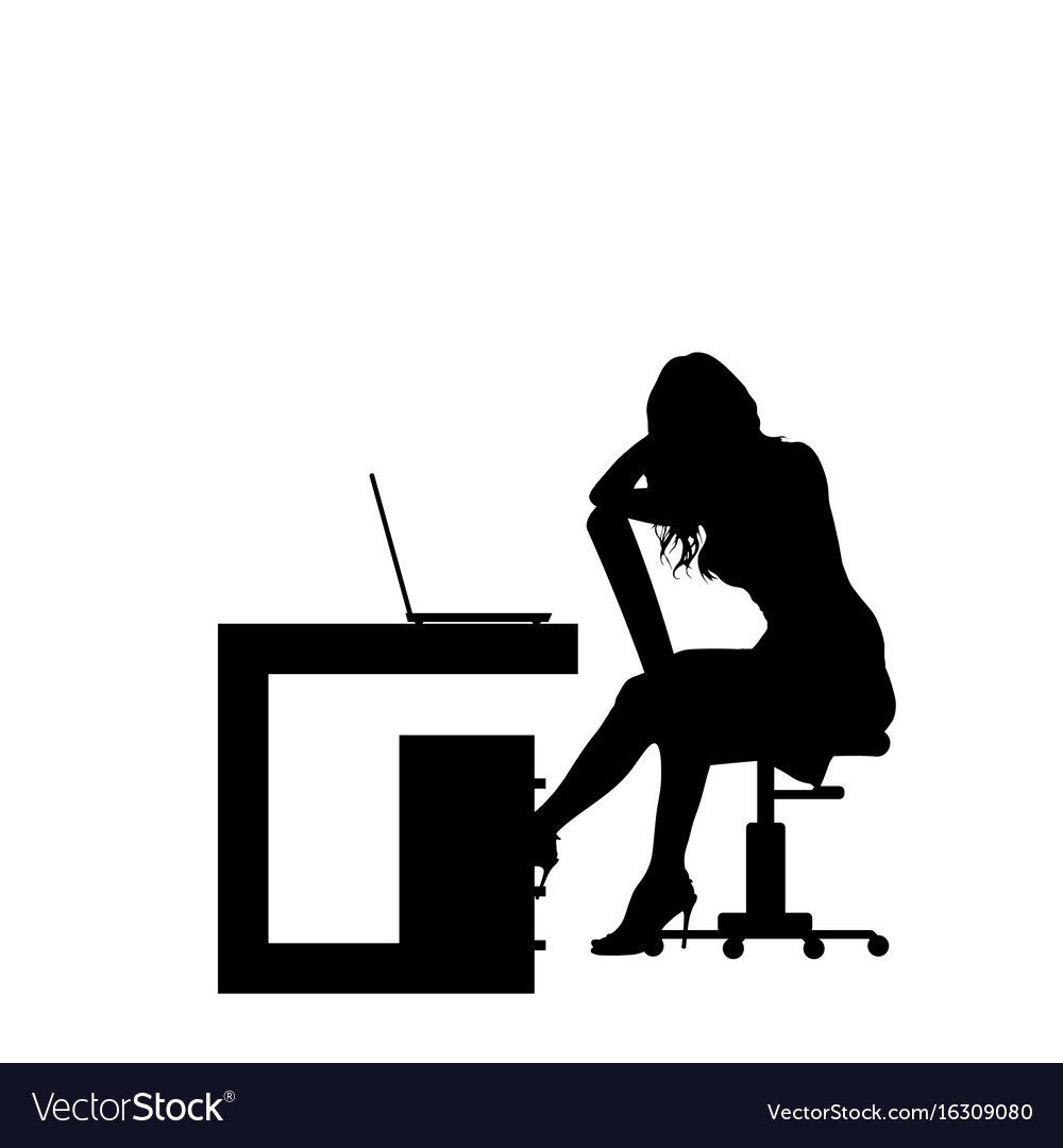 Girl silhouette in office